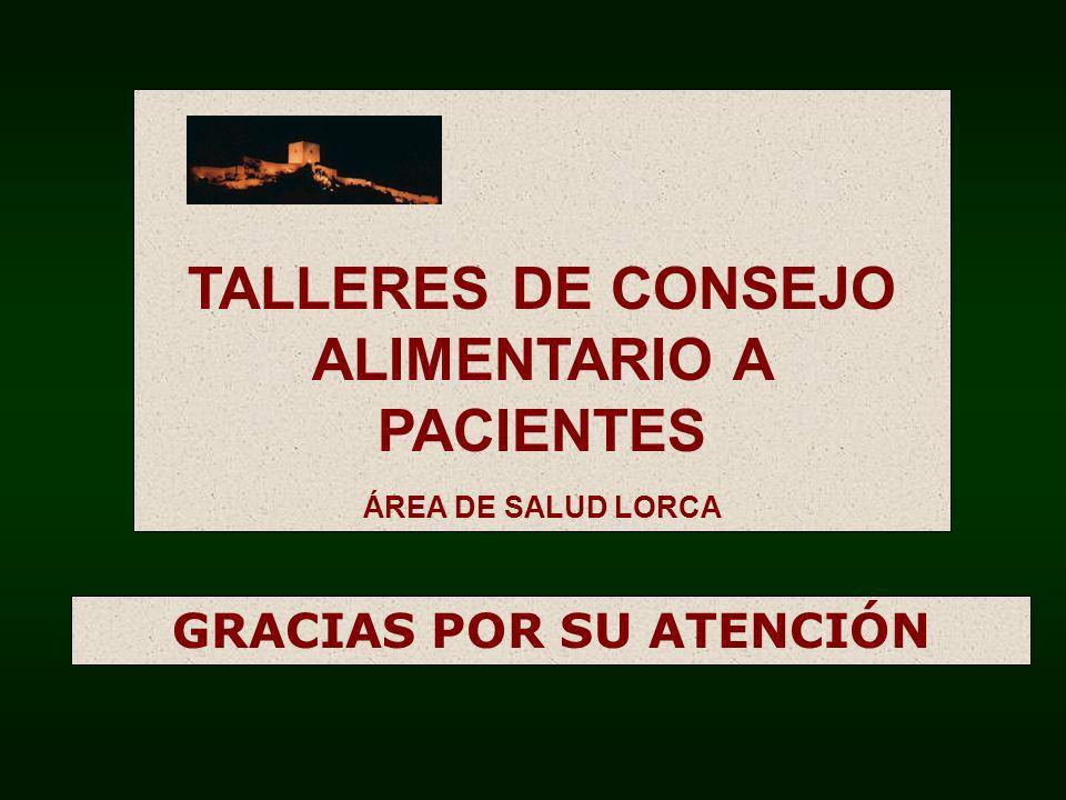 TALLERES DE CONSEJO ALIMENTARIO A PACIENTES ÁREA DE SALUD LORCA GRACIAS POR SU ATENCIÓN