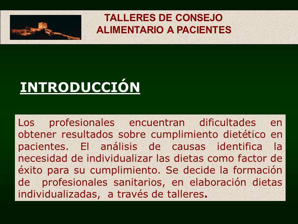 TALLERES DE CONSEJO ALIMENTARIO A PACIENTES INTRODUCCIÓN Los profesionales encuentran dificultades en obtener resultados sobre cumplimiento dietético