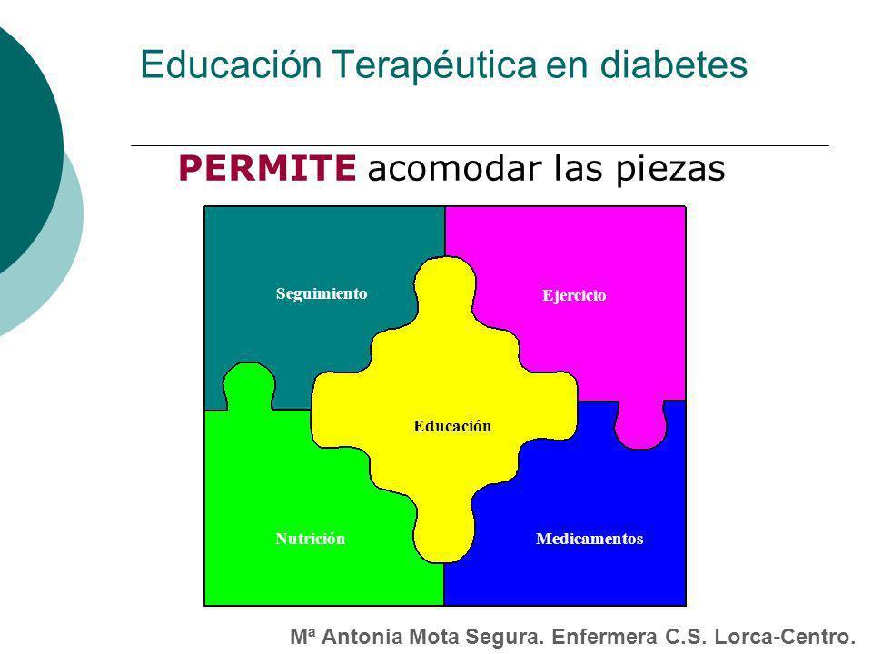 Educación Terapéutica en diabetes PERMITE acomodar las piezas Seguimiento MedicamentosNutrición Ejercicio Educación Mª Antonia Mota Segura.