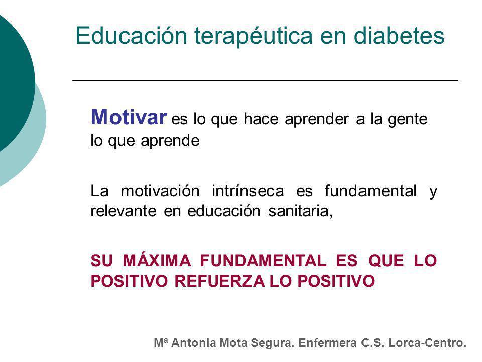 Motivar es lo que hace aprender a la gente lo que aprende La motivación intrínseca es fundamental y relevante en educación sanitaria, SU MÁXIMA FUNDAMENTAL ES QUE LO POSITIVO REFUERZA LO POSITIVO Educación terapéutica en diabetes