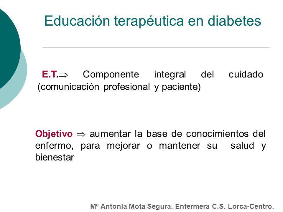 E.T. Componente integral del cuidado (comunicación profesional y paciente) Objetivo aumentar la base de conocimientos del enfermo, para mejorar o mant