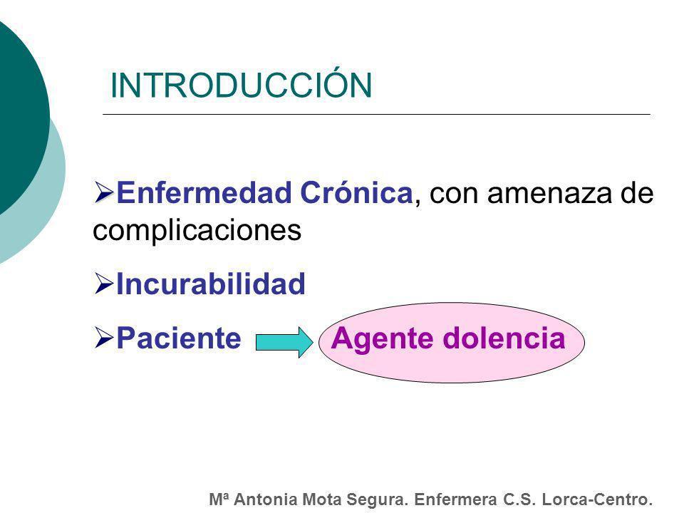 INTRODUCCIÓN Enfermedad Crónica, con amenaza de complicaciones Incurabilidad Paciente Agente dolencia Mª Antonia Mota Segura.