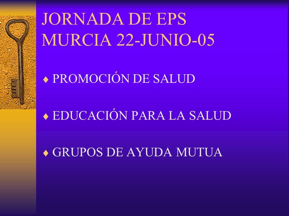 JORNADA DE EPS MURCIA 22-JUNIO-05 PROMOCIÓN DE SALUD EDUCACIÓN PARA LA SALUD GRUPOS DE AYUDA MUTUA