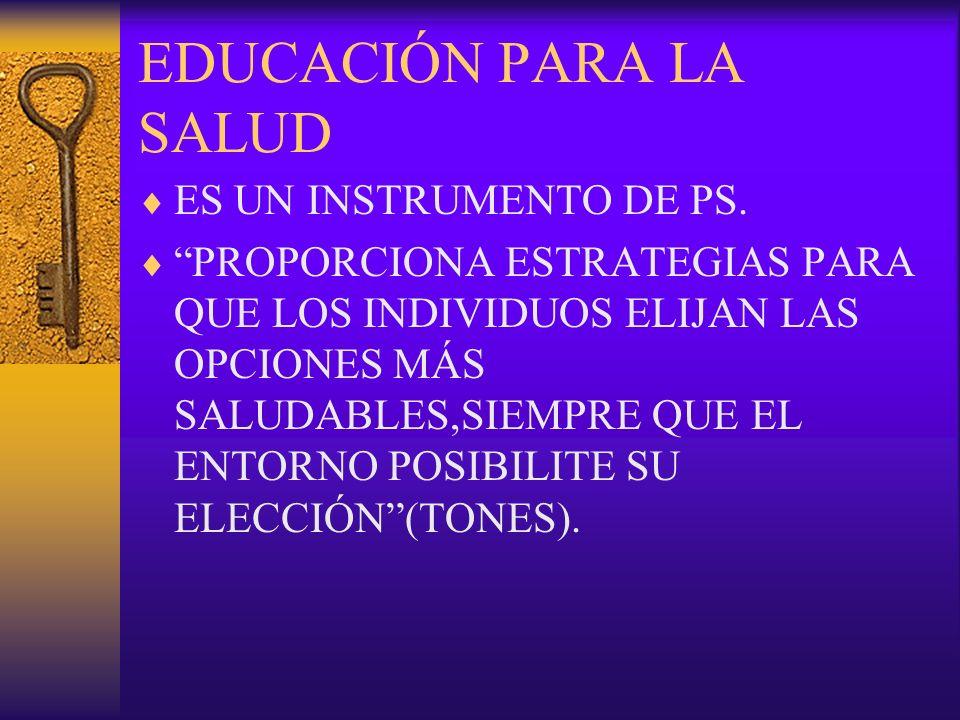 EDUCACIÓN PARA LA SALUD ES UN INSTRUMENTO DE PS.
