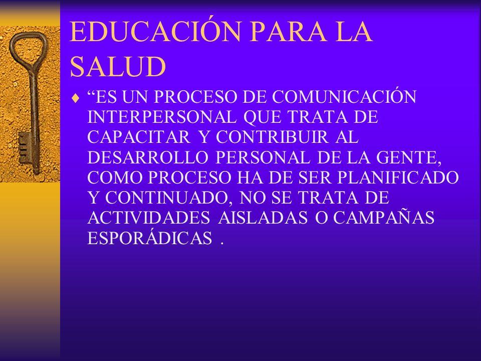 EDUCACIÓN PARA LA SALUD ES UN PROCESO DE COMUNICACIÓN INTERPERSONAL QUE TRATA DE CAPACITAR Y CONTRIBUIR AL DESARROLLO PERSONAL DE LA GENTE, COMO PROCE