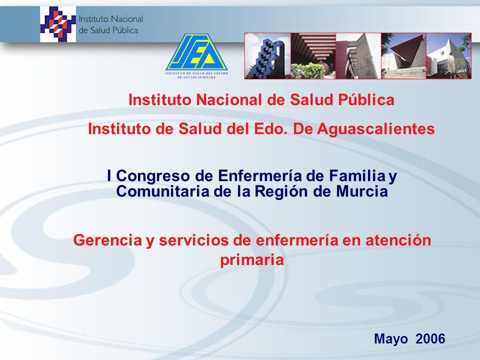 Gerencia y servicios de enfermería en atención primaria Instituto Nacional de Salud Pública Instituto de Salud del Edo.
