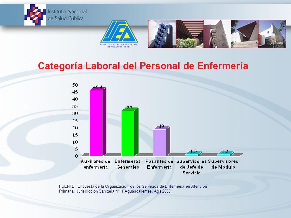 Principales Resultados Nivel de Estudios del Personal de Enfermería % FUENTE: Encuesta de la Organización de los Servicios de Enfermería en Atención P