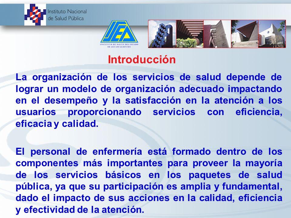 Introducción La organización de los servicios de salud depende de lograr un modelo de organización adecuado impactando en el desempeño y la satisfacción en la atención a los usuarios proporcionando servicios con eficiencia, eficacia y calidad.