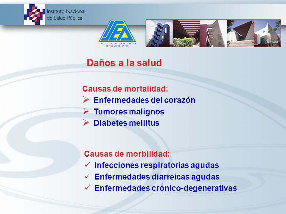 Daños a la salud Causas de mortalidad: Enfermedades del corazón Tumores malignos Diabetes mellitus Causas de morbilidad: Infecciones respiratorias agudas Enfermedades diarreicas agudas Enfermedades crónico-degenerativas