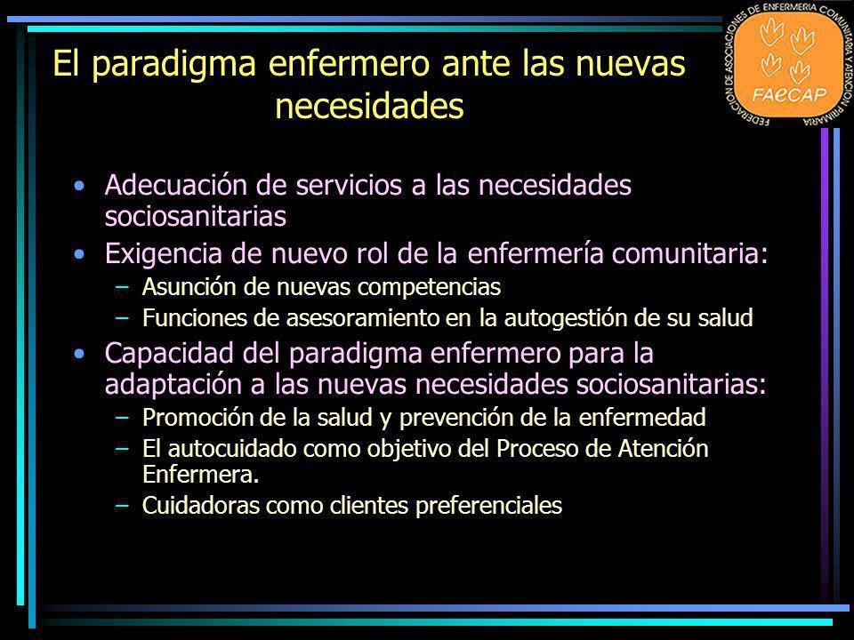 El paradigma enfermero ante las nuevas necesidades Adecuación de servicios a las necesidades sociosanitarias Exigencia de nuevo rol de la enfermería c