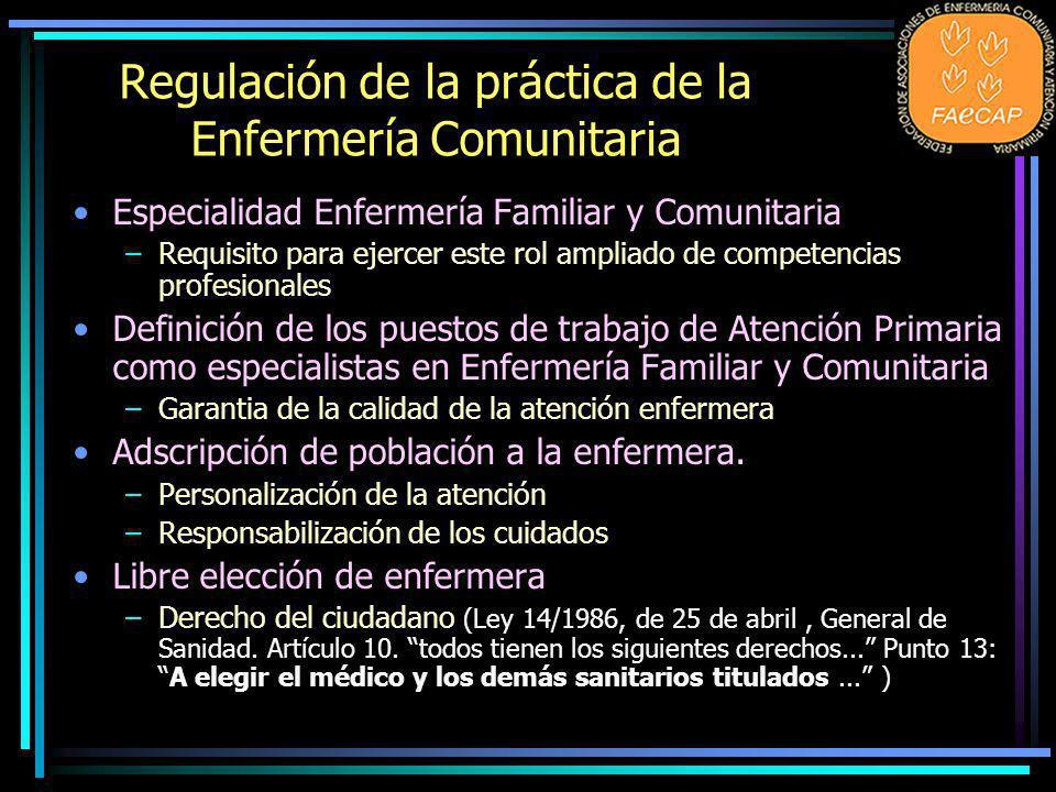 Regulación de la práctica de la Enfermería Comunitaria Especialidad Enfermería Familiar y Comunitaria –Requisito para ejercer este rol ampliado de com