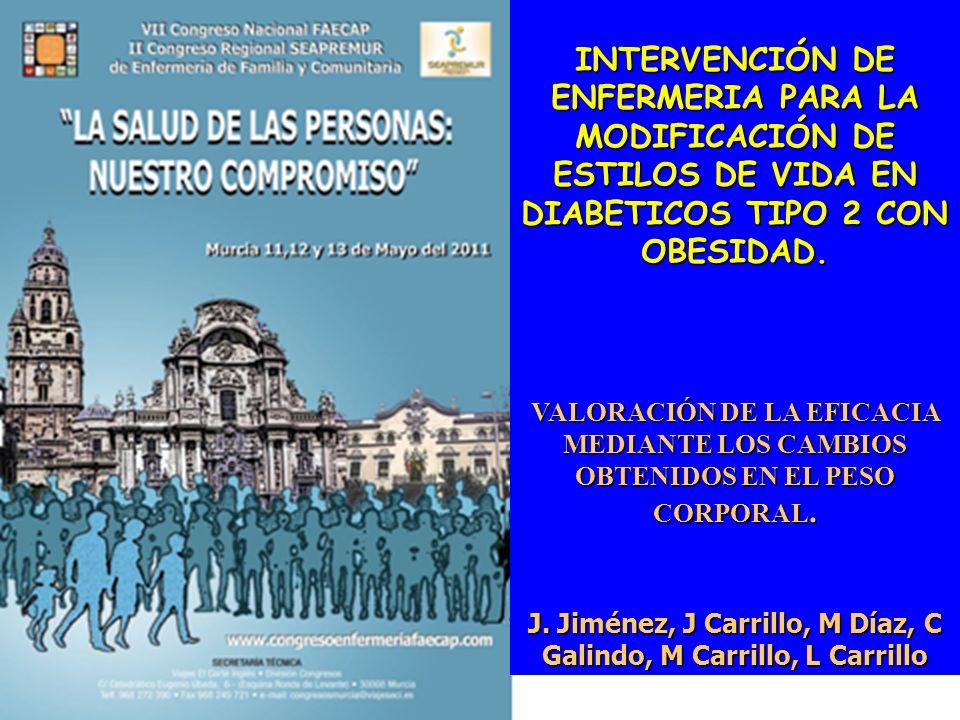 INTERVENCIÓN DE ENFERMERIA PARA LA MODIFICACIÓN DE ESTILOS DE VIDA EN DIABETICOS TIPO 2 CON OBESIDAD. VALORACIÓN DE LA EFICACIA MEDIANTE LOS CAMBIOS O