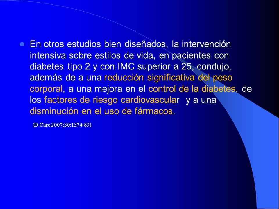 En otros estudios bien diseñados, la intervención intensiva sobre estilos de vida, en pacientes con diabetes tipo 2 y con IMC superior a 25, condujo,