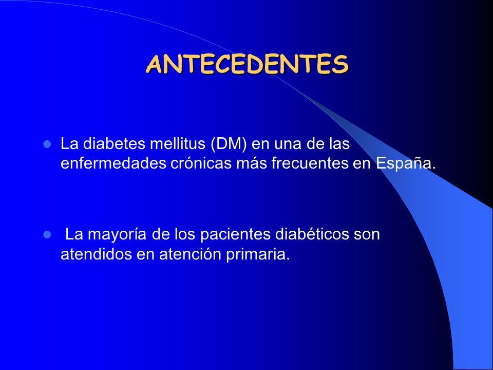 ANTECEDENTES La diabetes mellitus (DM) en una de las enfermedades crónicas más frecuentes en España. La mayoría de los pacientes diabéticos son atendi