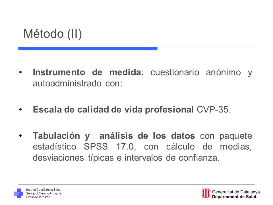 Institut Català de la Salut Servei dAtenció Primària Mataró-Maresme Método (II) Instrumento de medida: cuestionario anónimo y autoadministrado con: Es