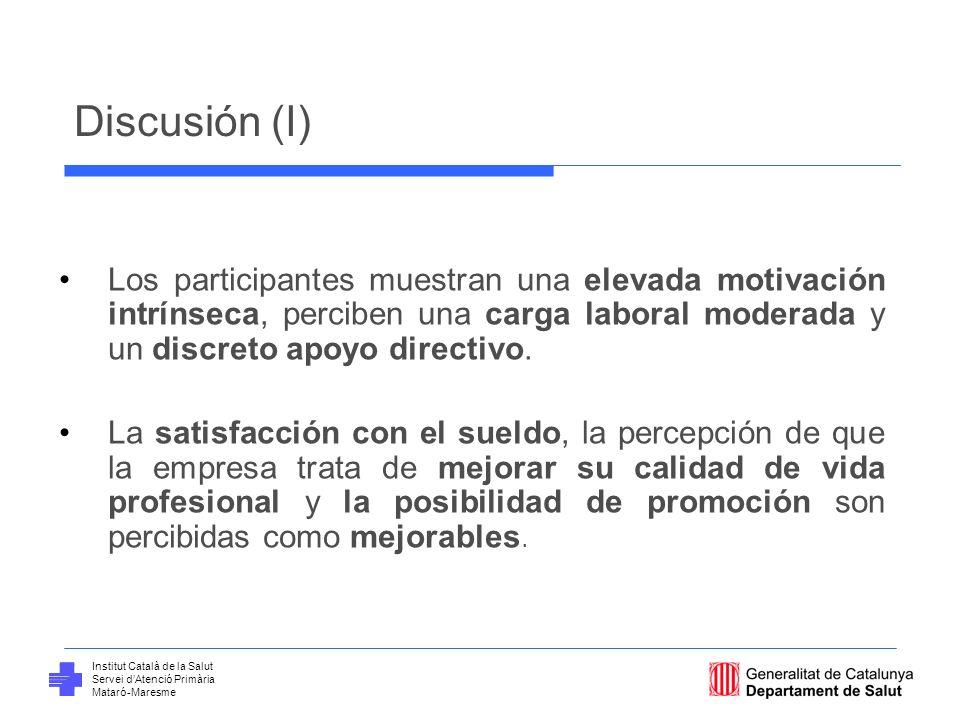 Institut Català de la Salut Servei dAtenció Primària Mataró-Maresme Discusión (I) Los participantes muestran una elevada motivación intrínseca, percib