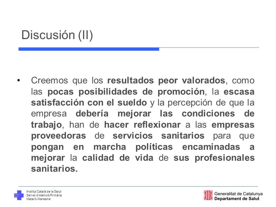 Institut Català de la Salut Servei dAtenció Primària Mataró-Maresme Discusión (II) Creemos que los resultados peor valorados, como las pocas posibilid