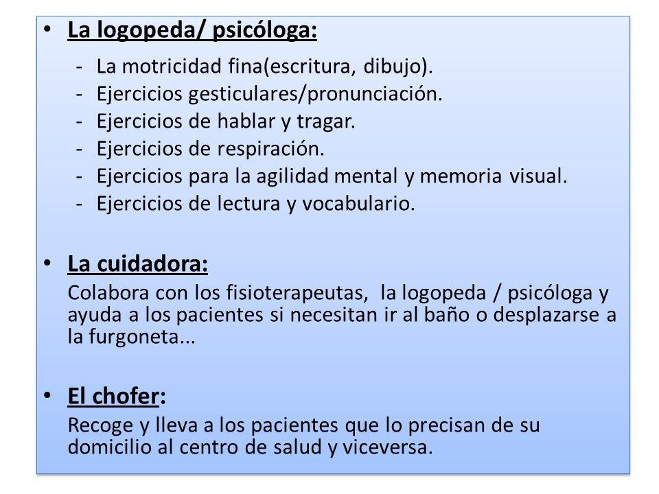 La logopeda/ psicóloga: -La motricidad fina(escritura, dibujo). -Ejercicios gesticulares/pronunciación. -Ejercicios de hablar y tragar. -Ejercicios de
