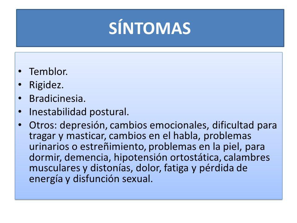 SÍNTOMAS Temblor. Rigidez. Bradicinesia. Inestabilidad postural. Otros: depresión, cambios emocionales, dificultad para tragar y masticar, cambios en