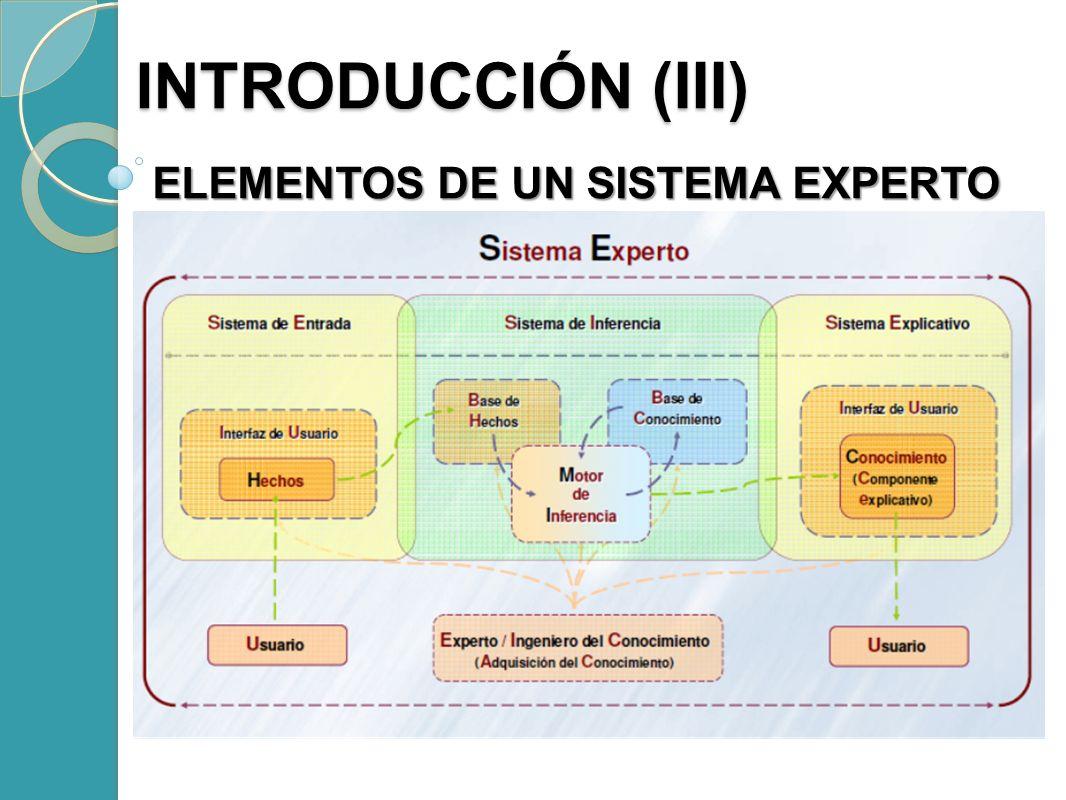 ELEMENTOS DE UN SISTEMA EXPERTO ELEMENTOS DE UN SISTEMA EXPERTO INTRODUCCIÓN (III) INTRODUCCIÓN (III)