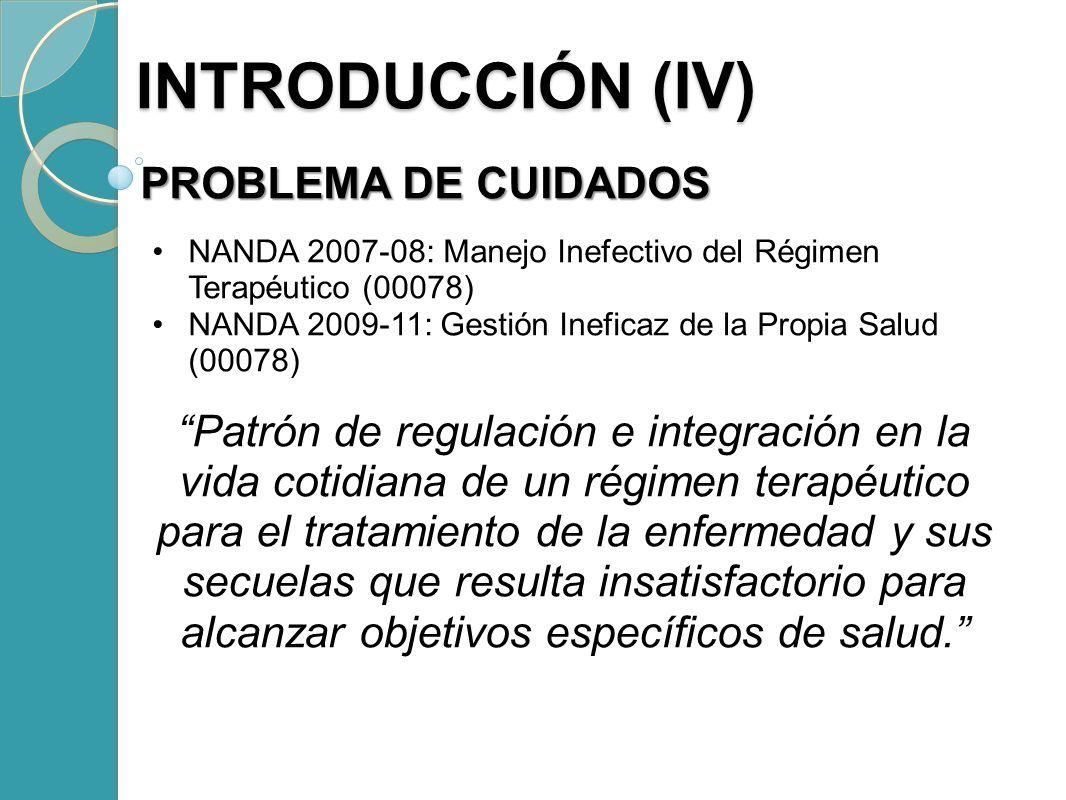 PROBLEMA DE CUIDADOS NANDA 2007-08: Manejo Inefectivo del Régimen Terapéutico (00078) NANDA 2009-11: Gestión Ineficaz de la Propia Salud (00078) Patró