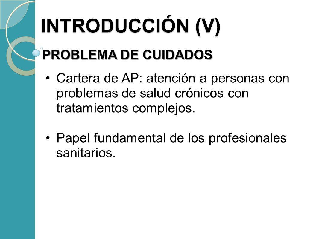 INTRODUCCIÓN (V) INTRODUCCIÓN (V) PROBLEMA DE CUIDADOS Cartera de AP: atención a personas con problemas de salud crónicos con tratamientos complejos.