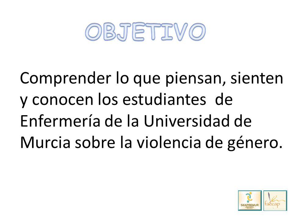 Comprender lo que piensan, sienten y conocen los estudiantes de Enfermería de la Universidad de Murcia sobre la violencia de género.