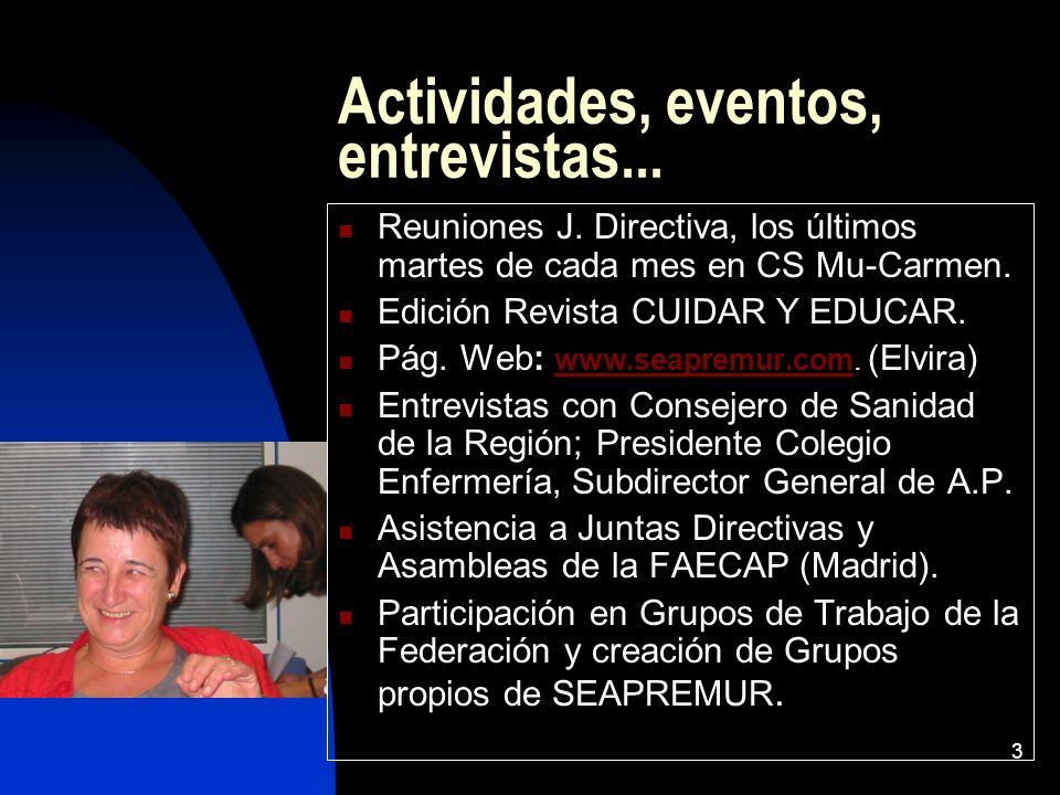 3 Actividades, eventos, entrevistas... Reuniones J. Directiva, los últimos martes de cada mes en CS Mu-Carmen. Edición Revista CUIDAR Y EDUCAR. Pág. W