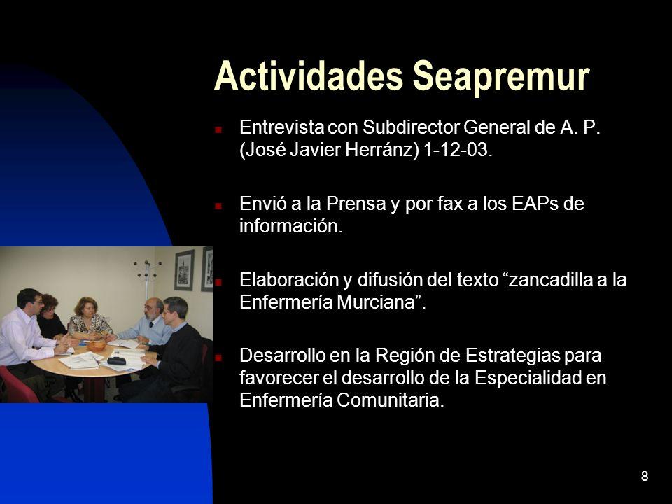 8 Actividades Seapremur Entrevista con Subdirector General de A. P. (José Javier Herránz) 1-12-03. Envió a la Prensa y por fax a los EAPs de informaci