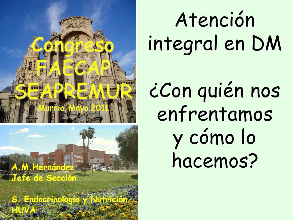 Atención integral en DM ¿Con quién nos enfrentamos y cómo lo hacemos? A.M.Hernández Jefe de Sección S. Endocrinología y Nutrición. HUVA CongresoFAECAP