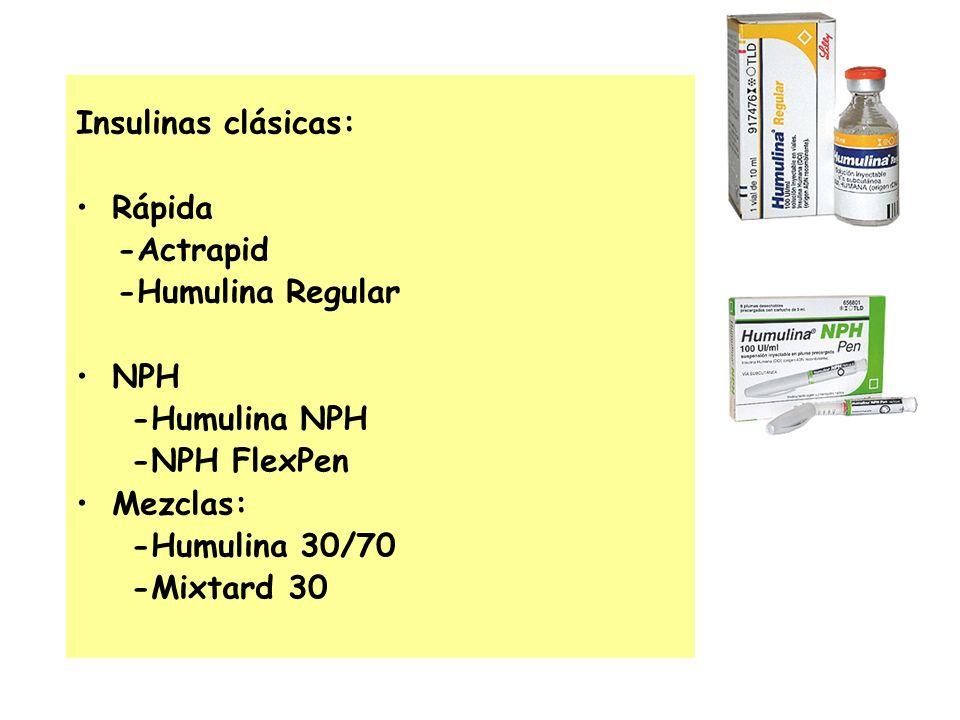 Insulinas clásicas: Rápida -Actrapid -Humulina Regular NPH -Humulina NPH -NPH FlexPen Mezclas: -Humulina 30/70 -Mixtard 30