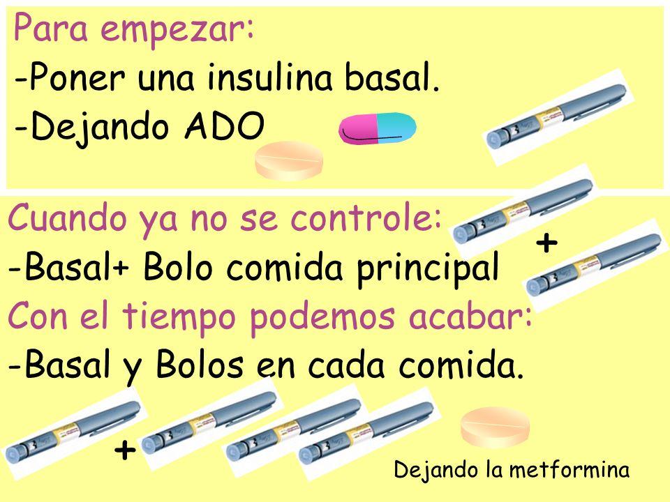 Para empezar: -Poner una insulina basal. -Dejando ADO Cuando ya no se controle: -Basal+ Bolo comida principal Con el tiempo podemos acabar: -Basal y B