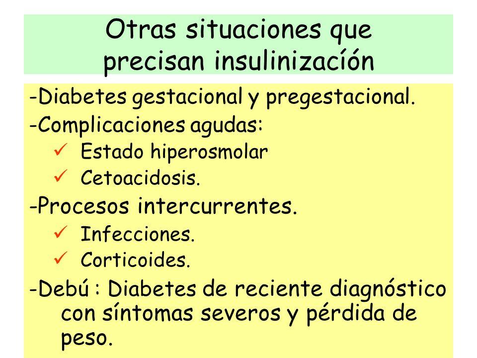 Otras situaciones que precisan insulinizacíón -Diabetes gestacional y pregestacional. -Complicaciones agudas: Estado hiperosmolar Cetoacidosis. -Proce
