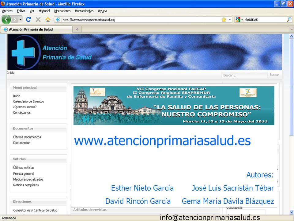 www.atencionprimariasalud.es Autores: Esther Nieto García José Luis Sacristán Tébar David Rincón García Gema Maria Dávila Blázquez info@atencionprimar