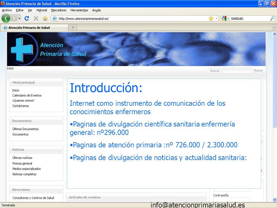 Introducción: Internet como instrumento de comunicación de los conocimientos enfermeros Paginas de divulgación científica sanitaria enfermería general