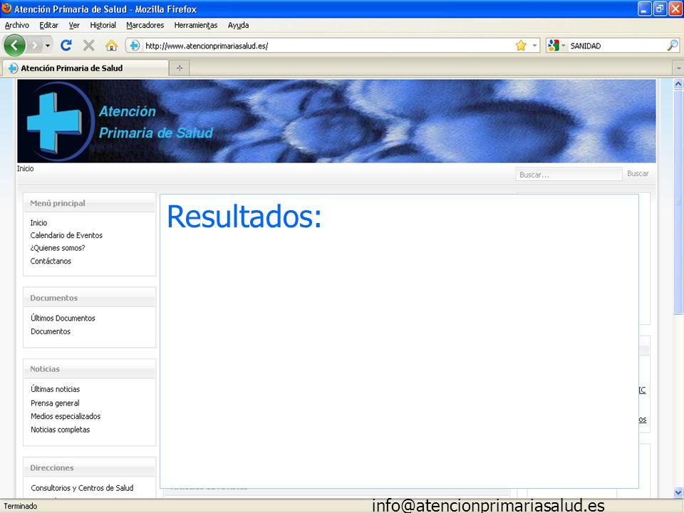 Resultados: info@atencionprimariasalud.es