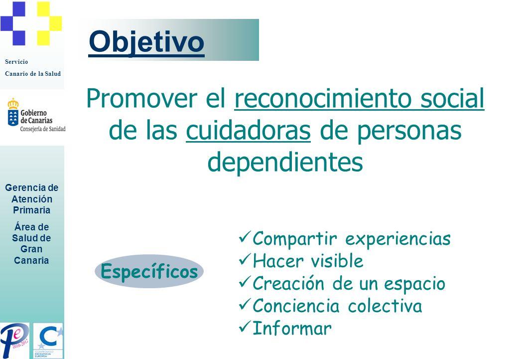 Servicio Canario de la Salud Gerencia de Atención Primaria Área de Salud de Gran Canaria Objetivo. Específicos Promover el reconocimiento social de la