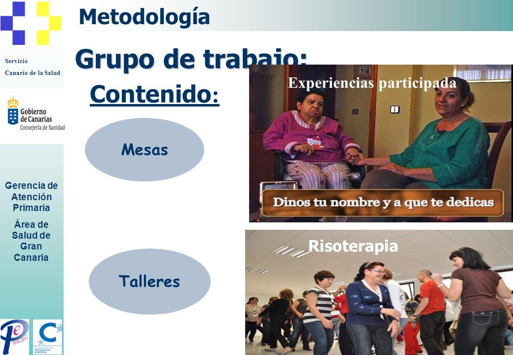 Servicio Canario de la Salud Gerencia de Atención Primaria Área de Salud de Gran Canaria Movimiento armónico Recursos para el cuidado Metodología Mesa