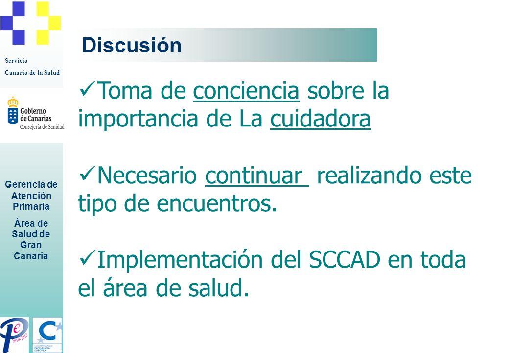 Servicio Canario de la Salud Gerencia de Atención Primaria Área de Salud de Gran Canaria Discusión Toma de conciencia sobre la importancia de La cuida