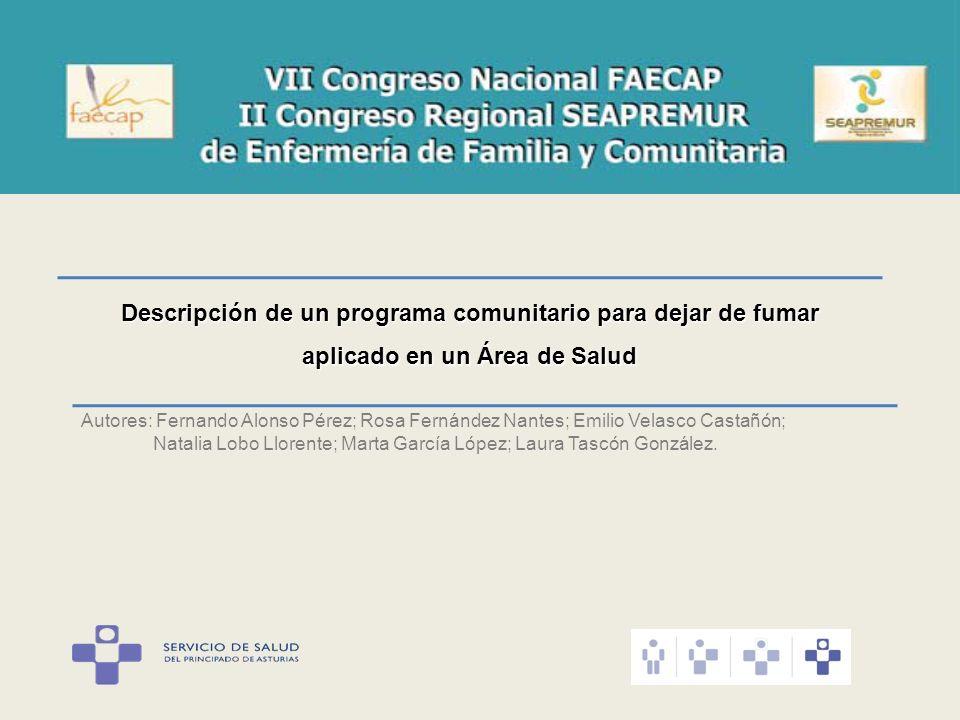 Descripción de un programa comunitario para dejar de fumar aplicado en un Área de Salud Autores: Fernando Alonso Pérez; Rosa Fernández Nantes; Emilio