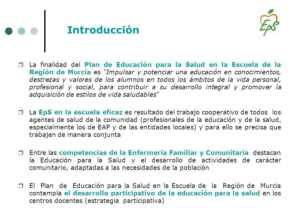 Introducción La finalidad del Plan de Educación para la Salud en la Escuela de la Región de Murcia es Impulsar y potenciar una educación en conocimien