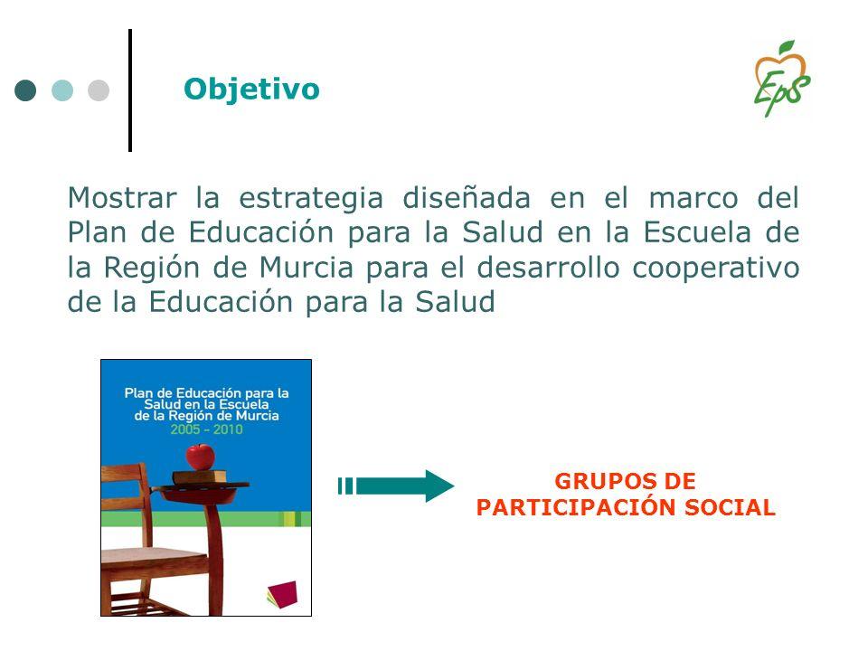 Mostrar la estrategia diseñada en el marco del Plan de Educación para la Salud en la Escuela de la Región de Murcia para el desarrollo cooperativo de