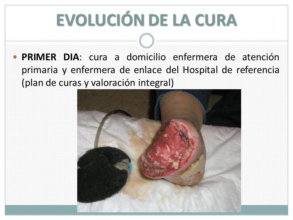 EVOLUCIÓN DE LA CURA PRIMER DIA: cura a domicilio enfermera de atención primaria y enfermera de enlace del Hospital de referencia (plan de curas y val