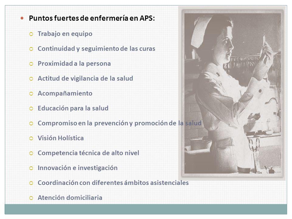 Puntos fuertes de enfermería en APS: Trabajo en equipo Continuidad y seguimiento de las curas Proximidad a la persona Actitud de vigilancia de la salu