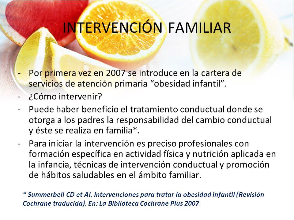 INTERVENCIÓN FAMILIAR -Por primera vez en 2007 se introduce en la cartera de servicios de atención primaria obesidad infantil. -¿Cómo intervenir? -Pue