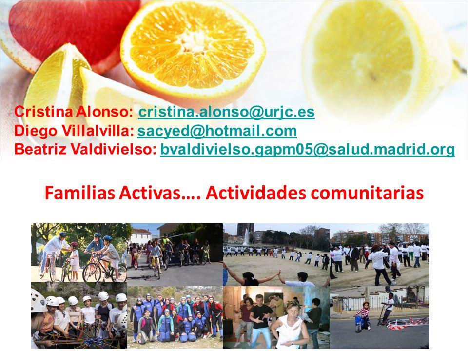 Familias Activas…. Actividades comunitarias Cristina Alonso: cristina.alonso@urjc.escristina.alonso@urjc.es Diego Villalvilla: sacyed@hotmail.comsacye