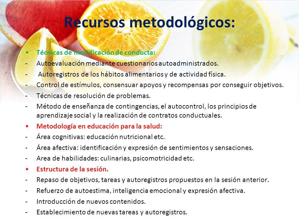 Recursos metodológicos: Técnicas de modificación de conducta: -Autoevaluación mediante cuestionarios autoadministrados. - Autoregistros de los hábitos