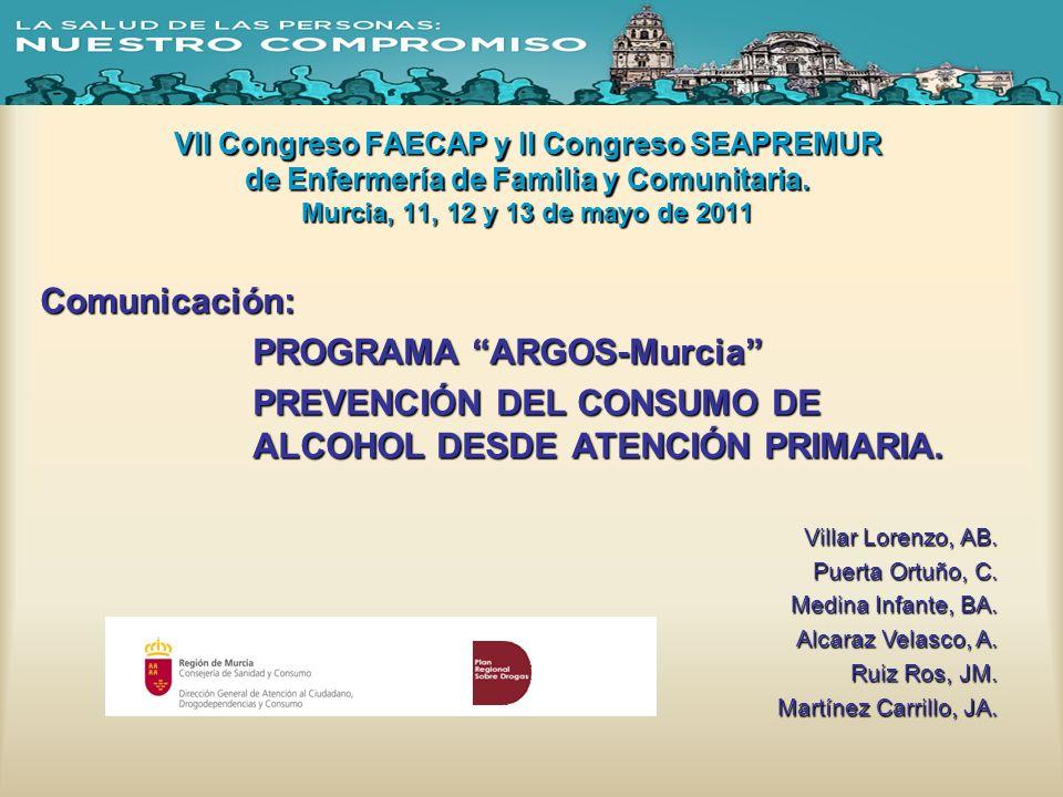 VII Congreso FAECAP y II Congreso SEAPREMUR de Enfermería de Familia y Comunitaria. Murcia, 11, 12 y 13 de mayo de 2011 Comunicación: PROGRAMA ARGOS-M