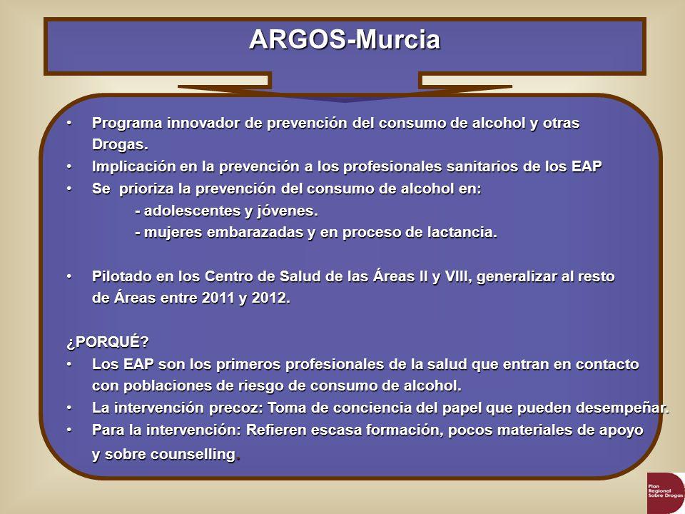 ARGOS -Murcia ObjetivosGenerales La realidad: - La cartera de servicios de AP contempla genéricamente actividades de prevención de las conductas de riesgo.