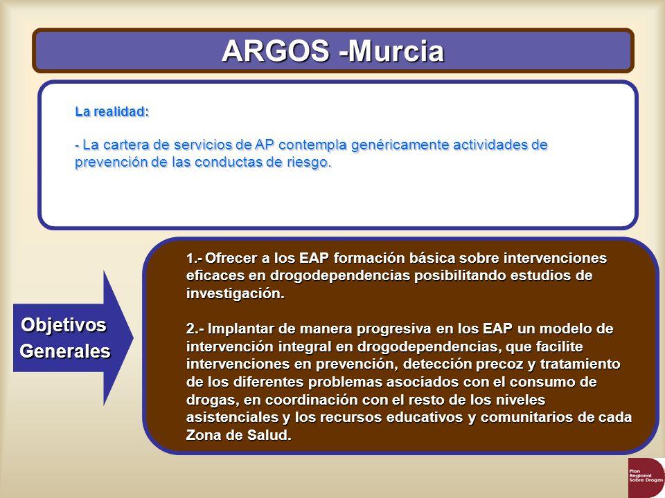 ARGOS -Murcia ObjetivosGenerales La realidad: - La cartera de servicios de AP contempla genéricamente actividades de prevención de las conductas de ri